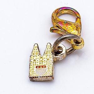 Anhänger Bettelarmband kleiner Dom mit Karabiner, silber-gold