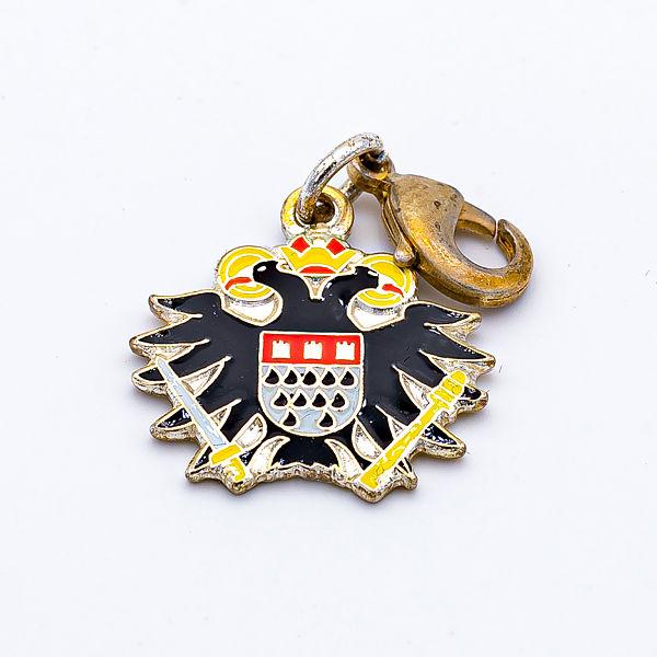 Anhänger Bettelarmband Adler mit Wappen mit Karabiner, schwarz-gold