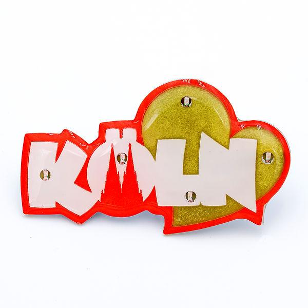 Blinky Schriftzug Köln mit Herz rot/gold