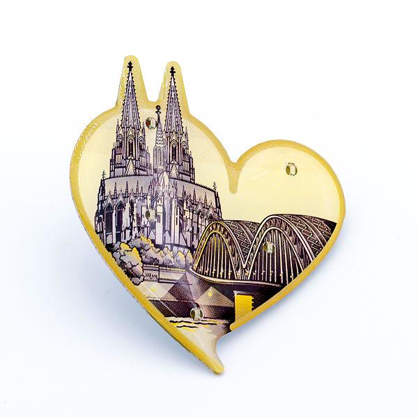 Blinky Herz mit Dom & Hohenzollernbrücke gold