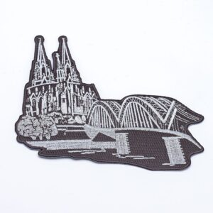 Bügelbild Dom & Hohenzollernbrücke silber