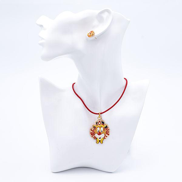 Kettenanhänger Clown-Kopf rose-gold mit Glitzer