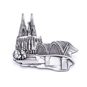 3D-Magnet Dom & Hohenzollernbrücke antik silber