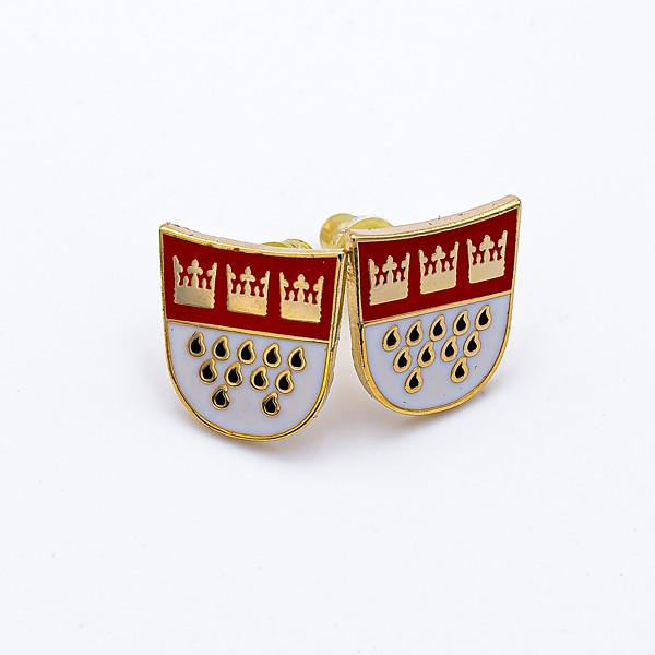 Ohrstecker Kölner Wappen umrandet in goldfarben