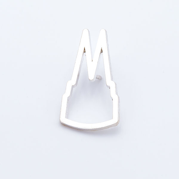 Pin Dom Silhouette offen, silber