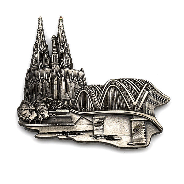 3D-Pin Dom & Hohenzollernbrücke antik silber