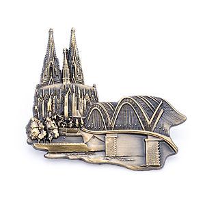 3D-Pin Dom & Hohenzollernbrücke antik gold