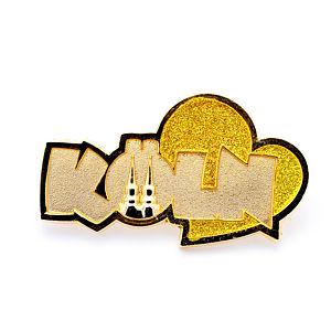 3D-Pin Schriftzug Köln mit Herz Gold & Glitzer