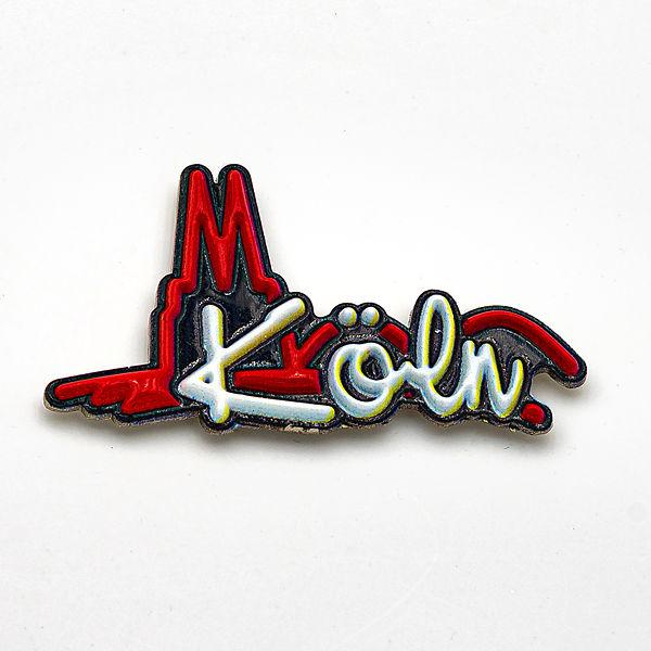 3D-Pin Schriftzug Köln mit Silhouette Dom & Hohenzollernbrücke rot/w/sz