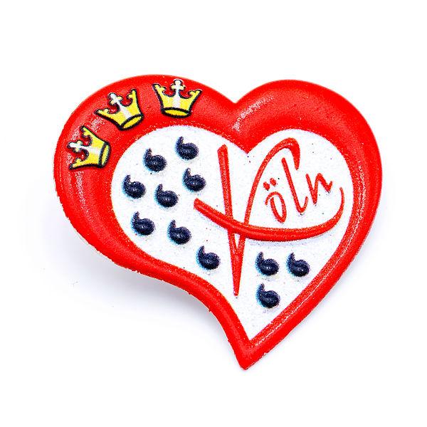 3D-Pin Herz asymmetrisch mit Wappen & Köln rot/weiß