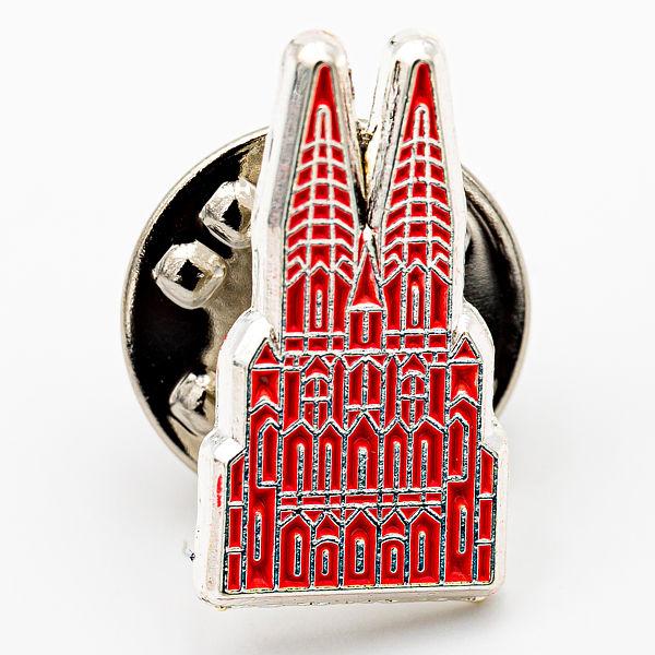 Kölner Dom mit Struktur silber/rot, klein